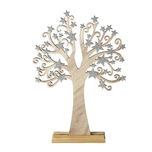 Wooden Tree with Silver Stars