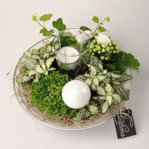 White Glass Bowl - Bespoke Blooms By Maybury