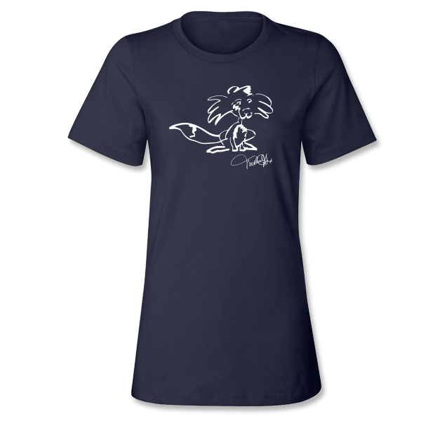 Fox Drawing Ladies Tee - Navy
