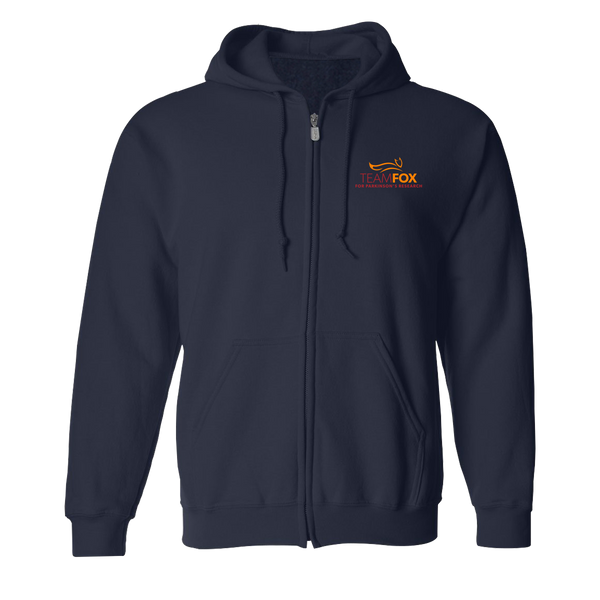 Team Fox Zip-up Hooded Sweatshirt - Navy