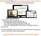 Upgrade to the Vibe Accelerator Video Masterclass. $75 value with $69 in bonuses, for a short time only. Read more.