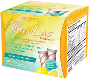 Threelac Probiotic Dietary Supplement, Natural Lemon Flavor .053 Ounce 60 Packets
