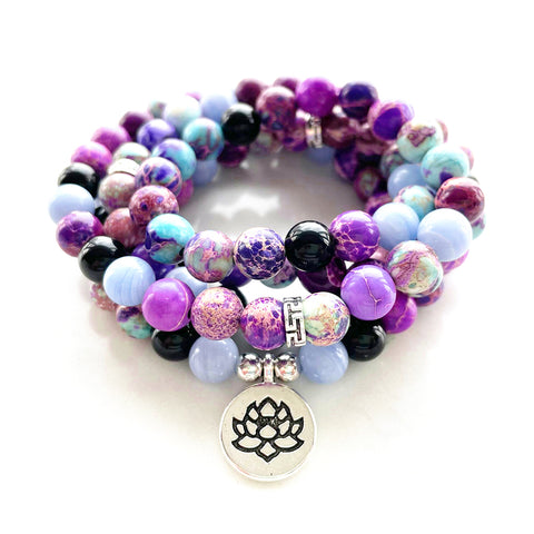 Natural Purple Jasper Lotus Mala