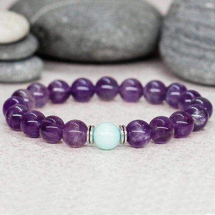 Bracelet Amethyst and Blue Aventurine Bracelet bead amethyst Third Eye Transcend amazonite mala meditation stone crysal reiki crystal healing bracelet necklace yoga bracelet yoga beads