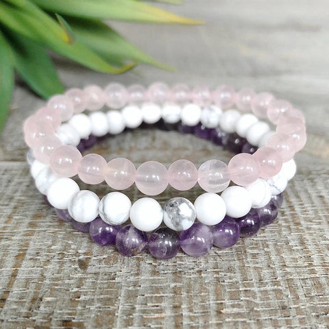 Bracelet Crown Chakra Bracelet Set bead amethyst Third Eye Transcend amazonite mala meditation stone crysal reiki crystal healing bracelet necklace yoga bracelet yoga beads