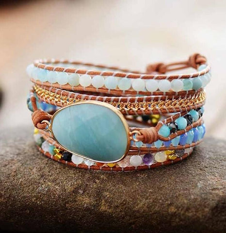 Bracelet Natural Stone Crystal Leather Wrap Bracelet bead amethyst Third Eye Transcend amazonite mala meditation stone crysal reiki crystal healing bracelet necklace yoga bracelet yoga beads