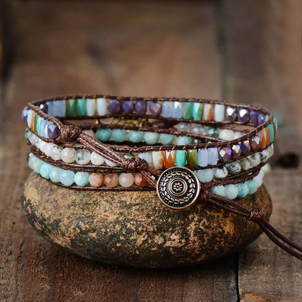 Bracelet Wisdom Tree of Life Wrap Bracelet bead amethyst Third Eye Transcend amazonite mala meditation stone crysal reiki crystal healing bracelet necklace yoga bracelet yoga beads