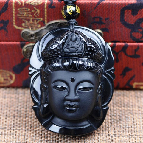 Jewelry Black Obsidian Carved Bodhisattva Pendant Necklace bead amethyst Third Eye Transcend amazonite mala meditation stone crysal reiki crystal healing bracelet necklace yoga bracelet yoga beads