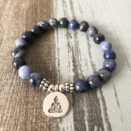 Jewelry Buddha Charm Natural Sodalite Bracelets Third Eye Transcend