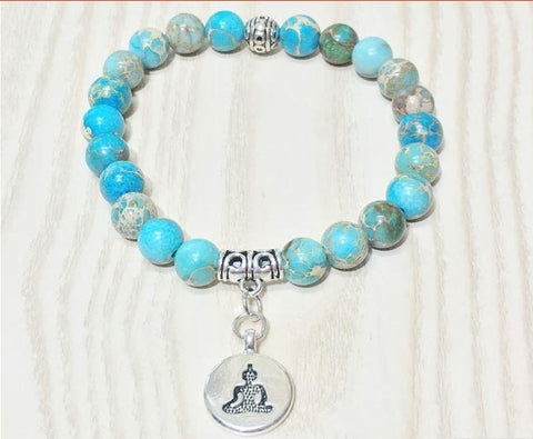 Jewelry Buddha Natural Ocean Jasper Bracelet bead amethyst Third Eye Transcend amazonite mala meditation stone crysal reiki crystal healing bracelet necklace yoga bracelet yoga beads