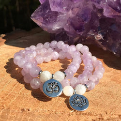 Jewelry Lotus Charm Natural Amethyst and Quartz Bracelets Third Eye Transcend