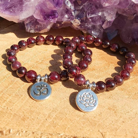 Jewelry Lotus Charm Natural Garnet Bracelets Third Eye Transcend