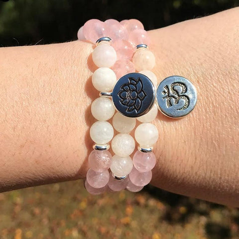 Jewelry Lotus Charm Natural Rose Quartz and White Quartz Bracelets Third Eye Transcend