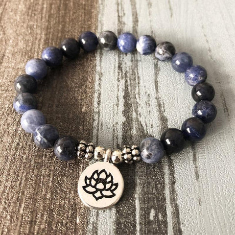 Jewelry Lotus Charm Natural Sodalite Bracelets Third Eye Transcend