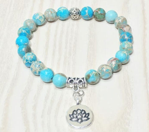 Jewelry Lotus Natural Ocean Jasper Bracelet bead amethyst Third Eye Transcend amazonite mala meditation stone crysal reiki crystal healing bracelet necklace yoga bracelet yoga beads