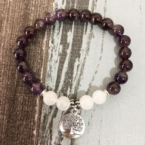 Jewelry Natural Amethyst and Selenite Tree of Life Bracelet bead amethyst Third Eye Transcend amazonite mala meditation stone crysal reiki crystal healing bracelet necklace yoga bracelet yoga beads
