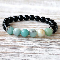 Jewelry Natural Black Onyx and Amazonite Bracelet Third Eye Transcend