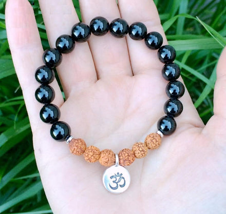 Jewelry Natural Black Onyx and Rudrashka Om Bracelet Third Eye Transcend