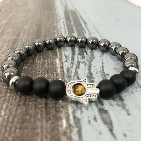 Jewelry Natural Hematite and Onyx Hamsa Bracelet bead amethyst Third Eye Transcend amazonite mala meditation stone crysal reiki crystal healing bracelet necklace yoga bracelet yoga beads