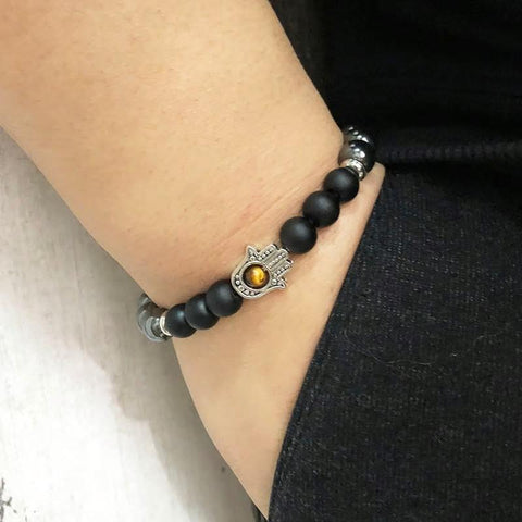 Jewelry Natural Hematite and Onyx Hamsa Bracelet Third Eye Transcend