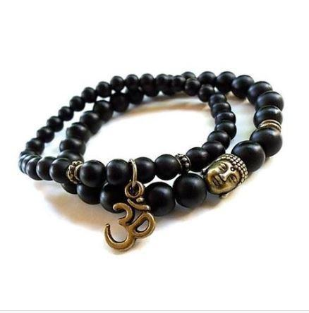 Jewelry Natural Matte Black Onyx Om Bracelet Set bead amethyst Third Eye Transcend amazonite mala meditation stone crysal reiki crystal healing bracelet necklace yoga bracelet yoga beads