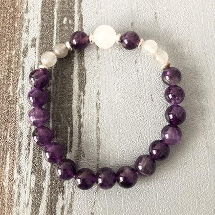 Jewelry Natural Selenite, Amethyst & Moonstone Bracelet bead amethyst Third Eye Transcend amazonite mala meditation stone crysal reiki crystal healing bracelet necklace yoga bracelet yoga beads