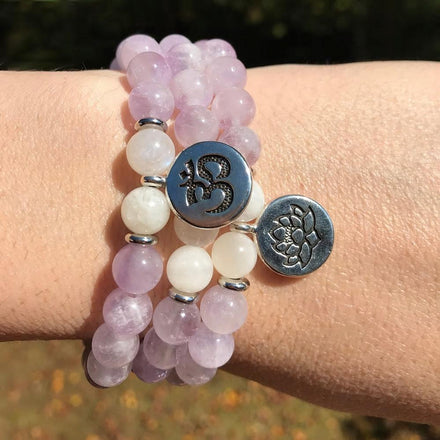 Jewelry Om Charm Natural Amethyst and Quartz Bracelets Third Eye Transcend