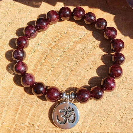 Jewelry Om Charm Natural Garnet Bracelets Third Eye Transcend