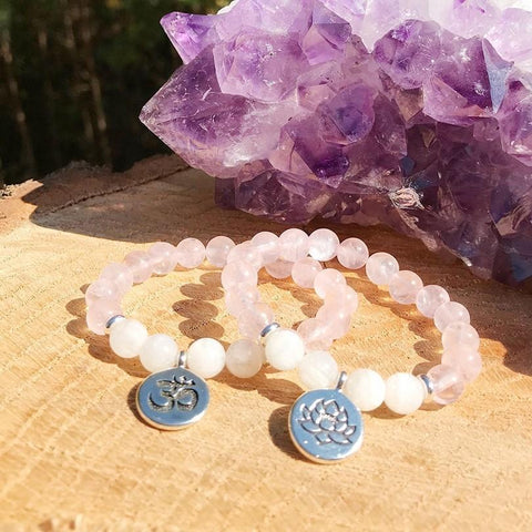 Jewelry Om Charm Natural Rose Quartz and White Quartz Bracelets Third Eye Transcend