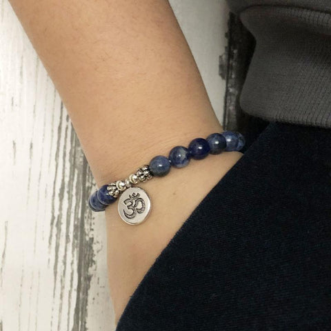 Jewelry Om Charm Natural Sodalite Bracelets Third Eye Transcend
