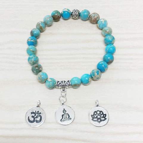 Jewelry SET OF 3 Natural Ocean Jasper Bracelet bead amethyst Third Eye Transcend amazonite mala meditation stone crysal reiki crystal healing bracelet necklace yoga bracelet yoga beads