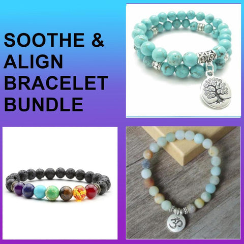 Jewelry Soothe & Align Bracelet Bundle bead amethyst Third Eye Transcend amazonite mala meditation stone crysal reiki crystal healing bracelet necklace yoga bracelet yoga beads