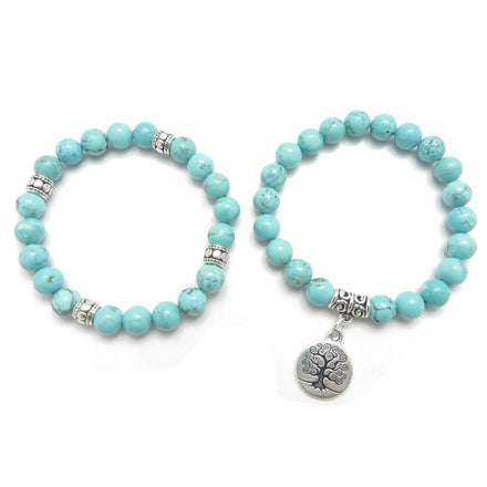 Turquoise Bracelet Stacks with silver Tree of Life pendant and Silver accents 2 piece
