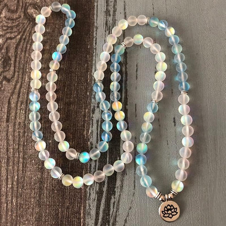 Mala Aqua & Angel Aura Lotus Mala Third Eye Transcend