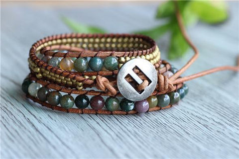 Mala Bracelet Bohemian Indian Agate and Leather Bracelet bead amethyst Third Eye Transcend amazonite mala meditation stone crysal reiki crystal healing bracelet necklace yoga bracelet yoga beads