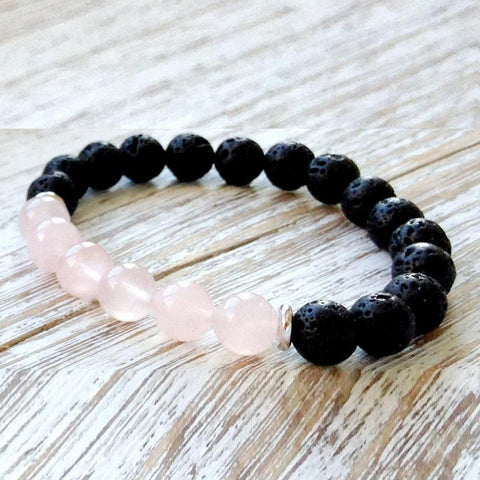 Mala Bracelet Default Title Natural Lava Stone Rose Quartz Bracelet Third Eye Transcend