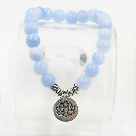 Mala Bracelet Lotus Natural Blue Chalcedony Bracelets Third Eye Transcend