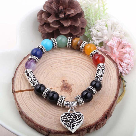 Mala Bracelet Natural 7 Chakra Bracelet with Heart Pendant bead amethyst Third Eye Transcend amazonite mala meditation stone crysal reiki crystal healing bracelet necklace yoga bracelet yoga beads
