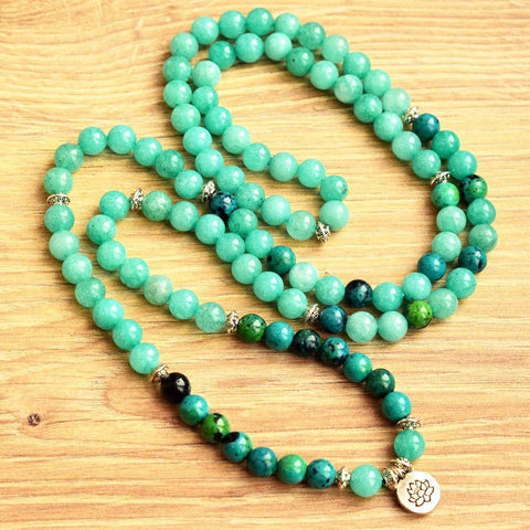 Mala Bracelet Natural Amazonite and Chrysocolla Lotus Mala Third Eye Transcend