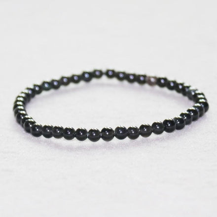 Mala Bracelet Natural Black Tourmaline Mini Bracelet Third Eye Transcend