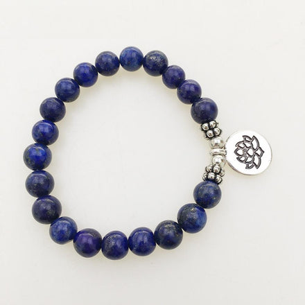 Natural Lapis Lazuli Bracelet with Lotus Charm