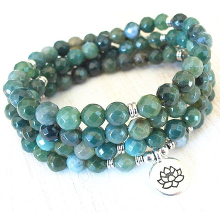 Mala Bracelet Natural Moss Agate Lotus Mala Third Eye Transcend