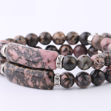 Mala Bracelet Natural Rhodonite Bracelet Third Eye Transcend