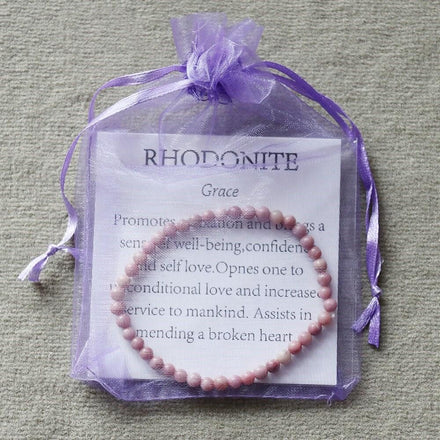 Mala Bracelet Natural Rhodonite Mini Bracelet Third Eye Transcend