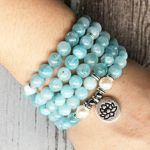 Mala Bundle of 3 Natural Aquamarine Lotus Malas Third Eye Transcend