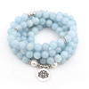 Image of Mala Bundle of 3 Natural Blue Chalcedony Lotus Malas Third Eye Transcend