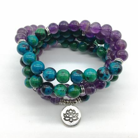 Mala Calming & Transformation Bundle bead amethyst Third Eye Transcend amazonite mala meditation stone crysal reiki crystal healing bracelet necklace yoga bracelet yoga beads