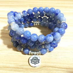 Mala Default Title Natural Blue Aventurine Lotus Mala bead amethyst Third Eye Transcend amazonite mala meditation stone crysal reiki crystal healing bracelet necklace yoga bracelet yoga beads