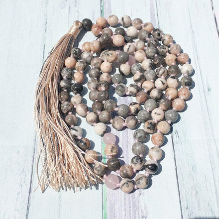 Mala Knotted Rose Quartz and Rhodonite Tassel Mala bead amethyst Third Eye Transcend amazonite mala meditation stone crysal reiki crystal healing bracelet necklace yoga bracelet yoga beads
