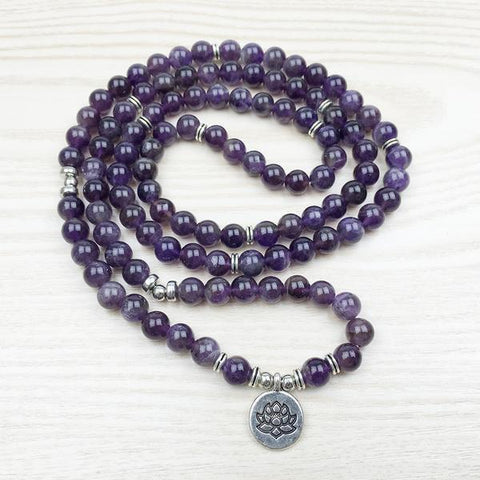 Mala Love and Peace Bundle bead amethyst Third Eye Transcend amazonite mala meditation stone crysal reiki crystal healing bracelet necklace yoga bracelet yoga beads